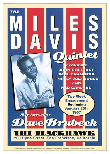 Miles Davis Quintet: Blackhawk San Francisco 1957 Unknown Art Print Posters & Prints - Beloved Gift Shop