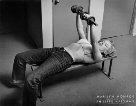 Marilyn Monroe Lifting Weights Hollywood 1952 | Philippe Halsman