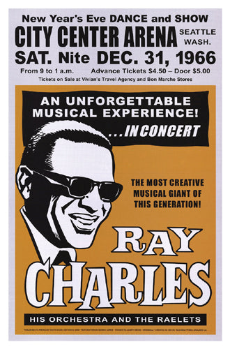 Ray Charles Seattle New Year's Eve 1966 Unknown Art Print Posters & Prints - Beloved Gift Shop