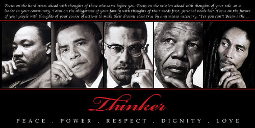 Thinker (Quintet): Peace Power Respect Dignity Love Unknown Art Print