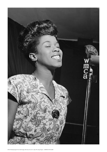 Sarah Vaughan WMCA Microphone | William Gottlieb