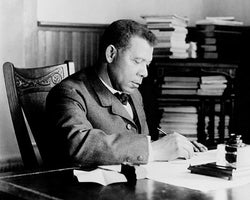 Booker T. Washington at Desk Tuskegee Institute c. 1890-1910 McMahan Photo Archive Art Print