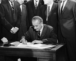 President Lyndon B. Johnson Signing the Civil Rights Act of 1968 McMahan Photo Archive Art Print