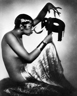 Josephine Baker with Elephant Model 1925 McMahan Photo Archive Art Print