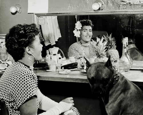 "Billie Holiday in Dressing Room with Her Dog ""Mister"" NYC 1946 McMahan Photo Archive Art Print"