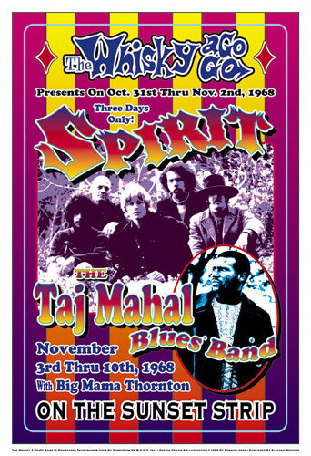 Spirit & Taj Mahal Blues Band 1968: Whisky-A-Go-Go Los Angeles Dennis Loren Art Print