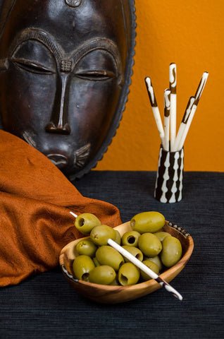 Batik Cow Bone Toothpick Holder & Cocktail Picks Set by Zawadi Gifts - Beloved Gift Shop