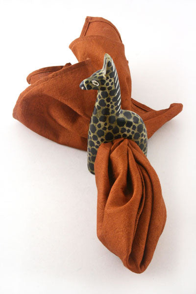 Brown African Soapstone Giraffe Napkin Rings Set of 4 by Zawadi Gifts - Beloved Gift Shop