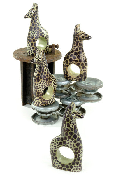 Brown African Soapstone Giraffe Napkin Rings Set of 4 Napkin Holder - Beloved Gift Shop