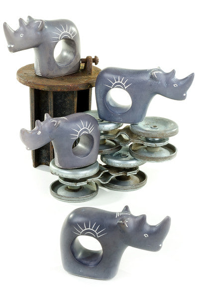 African Soapstone Rhino Napkin Rings Set of 4 Napkin Holder - Beloved Gift Shop