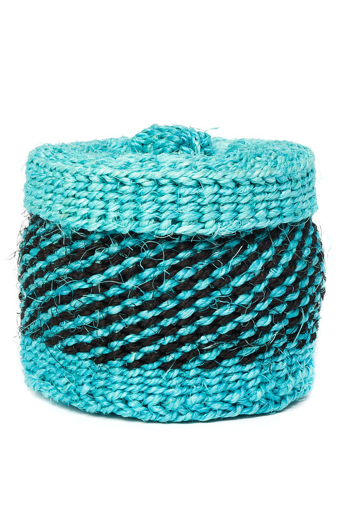 African Aqua Sisal Itty Bitty Lidded Basket African Baskets - Beloved Gift Shop