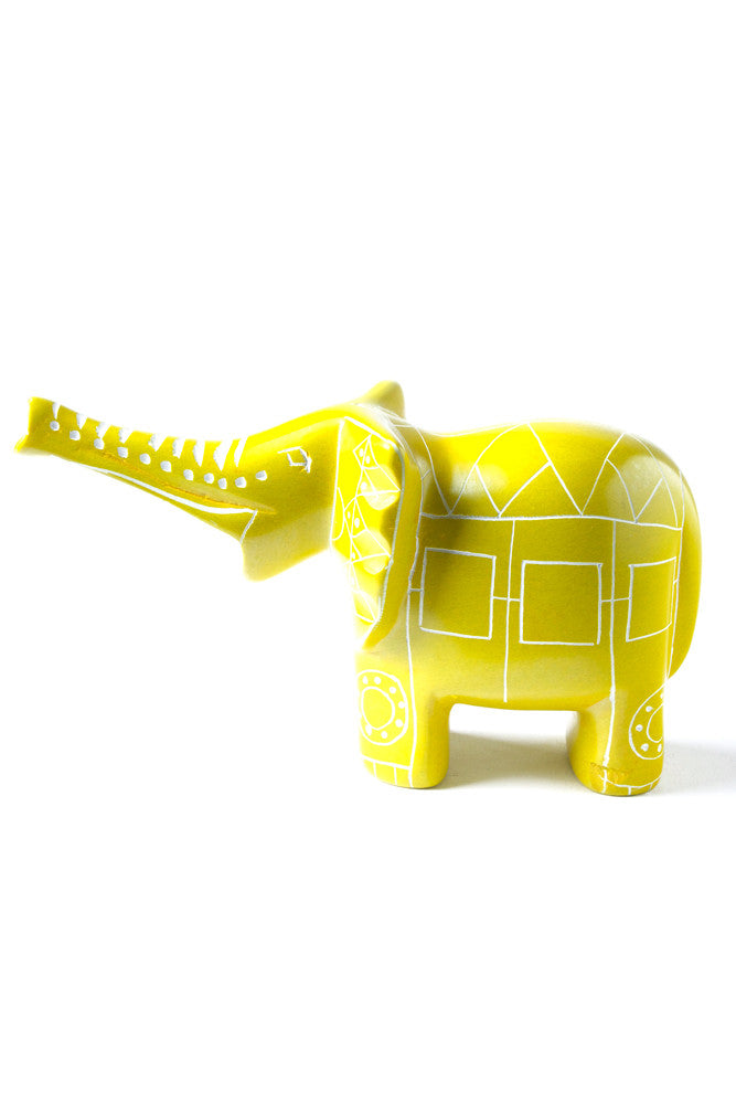 Yellow Line Art Soapstone Elephant by Elephant Statue - Beloved Gift Shop