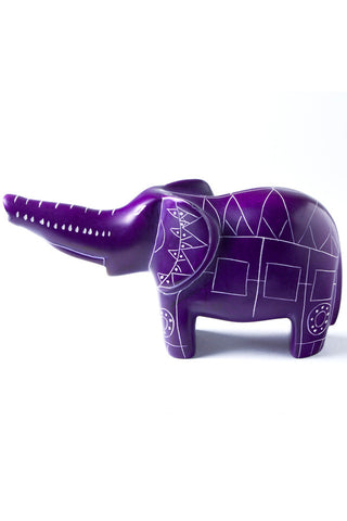Purple Line Art Soapstone Elephant by Elephant Statue - Beloved Gift Shop