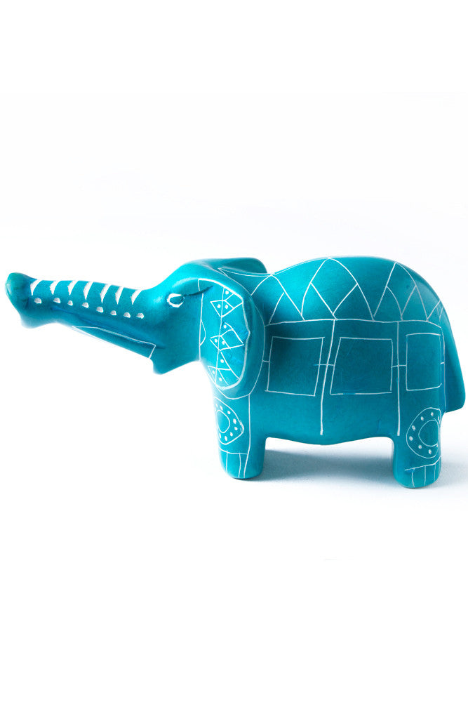 Aqua Blue Line Art Soapstone Elephant by Elephant Statue - Beloved Gift Shop