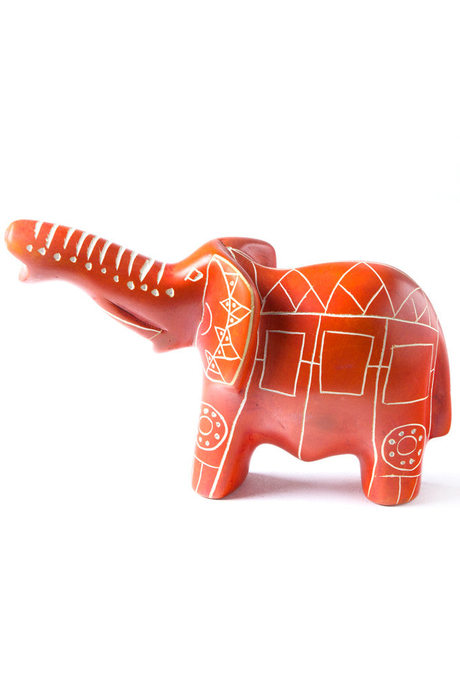Orange Line Art Soapstone Elephant by Elephant Statue - Beloved Gift Shop