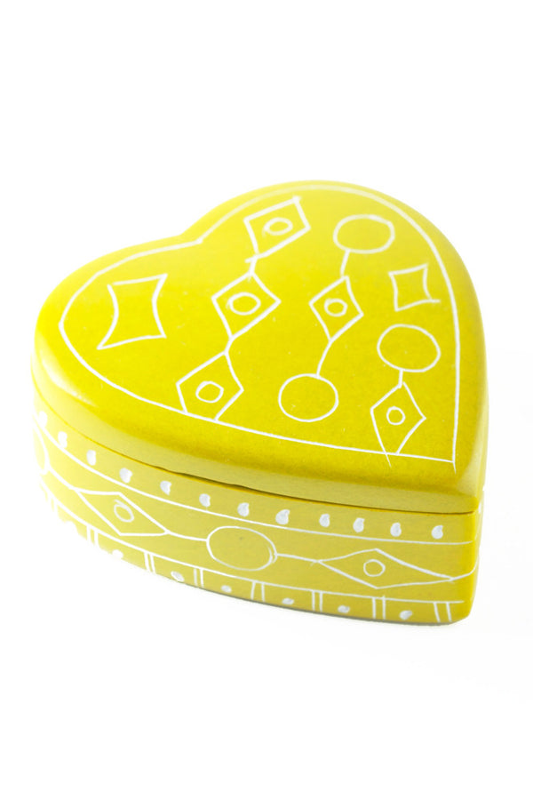 Yellow Line Art Soapstone Heart Box Keepsake Box - Beloved Gift Shop
