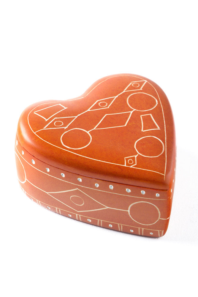 Orange Line Art Soapstone Heart Box