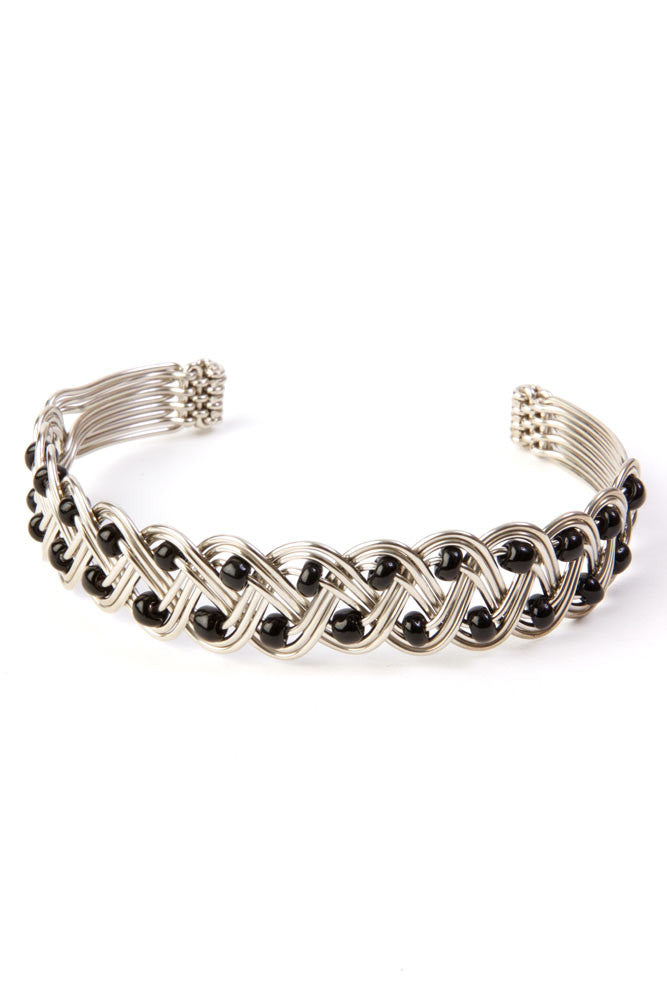 Kenyan Braided Silver Cuff Bracelet with Black Beads Bracelet - Beloved Gift Shop