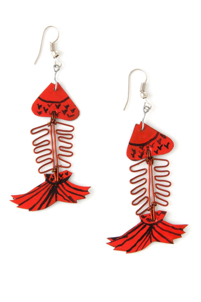African Assorted Recycled Aluminum Fish Earrings by Zawadi Gifts - Beloved Gift Shop