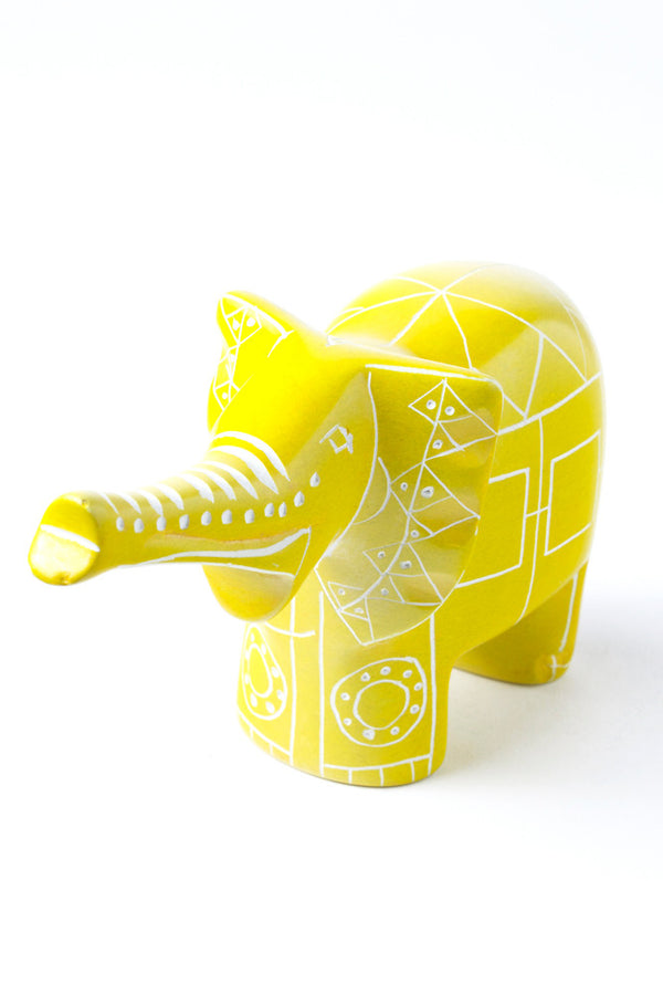 Yellow Line Art Soapstone Elephant Soapstone Statue - Beloved Gift Shop