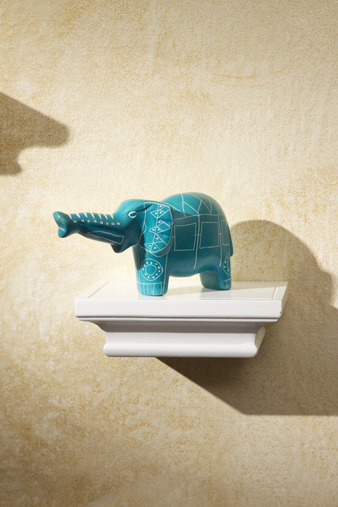 Aqua Blue Line Art Soapstone Elephant Soapstone Statue - Beloved Gift Shop