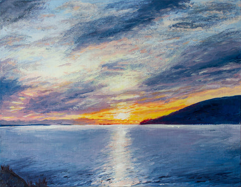 sunset at whytecliff final painting