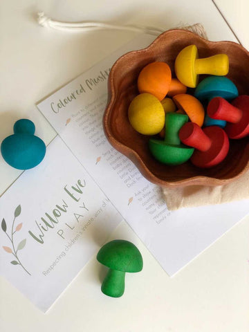 Beautiful set of 10 mushrooms perfect for numeracy skills and open ended play
