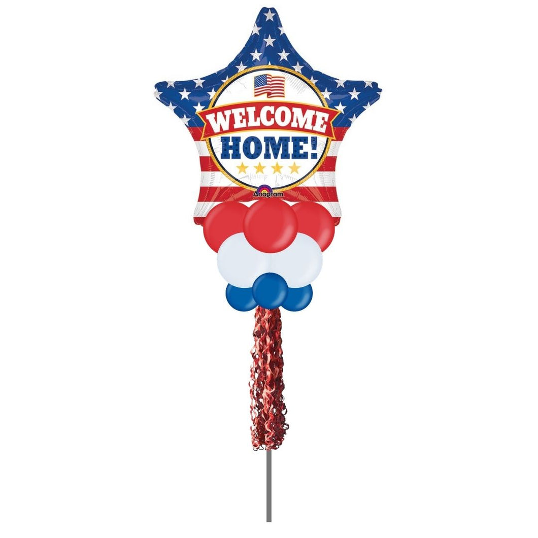 Patriotic Welcome Home Balloon Yard Bouquet
