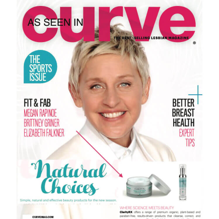 ClarityRx Curve Magazine Cover with Ellen
