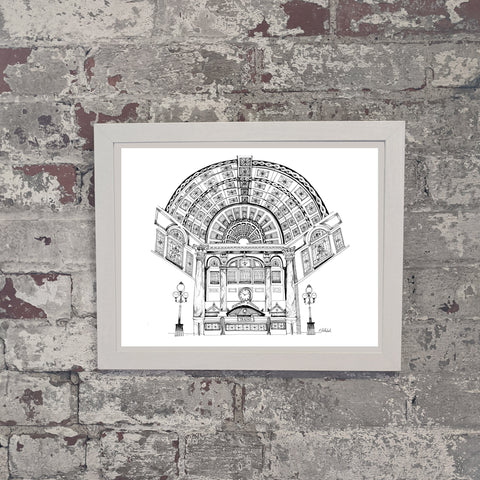 Grand Concourse of Pittsburgh, Hand Drawn in black and white