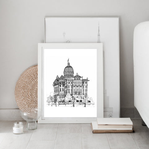 Hand Drawing of Greensburg Courthouse in black and white