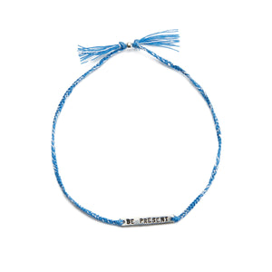 Be present blue mix silver handmade bracelet from Santai.no