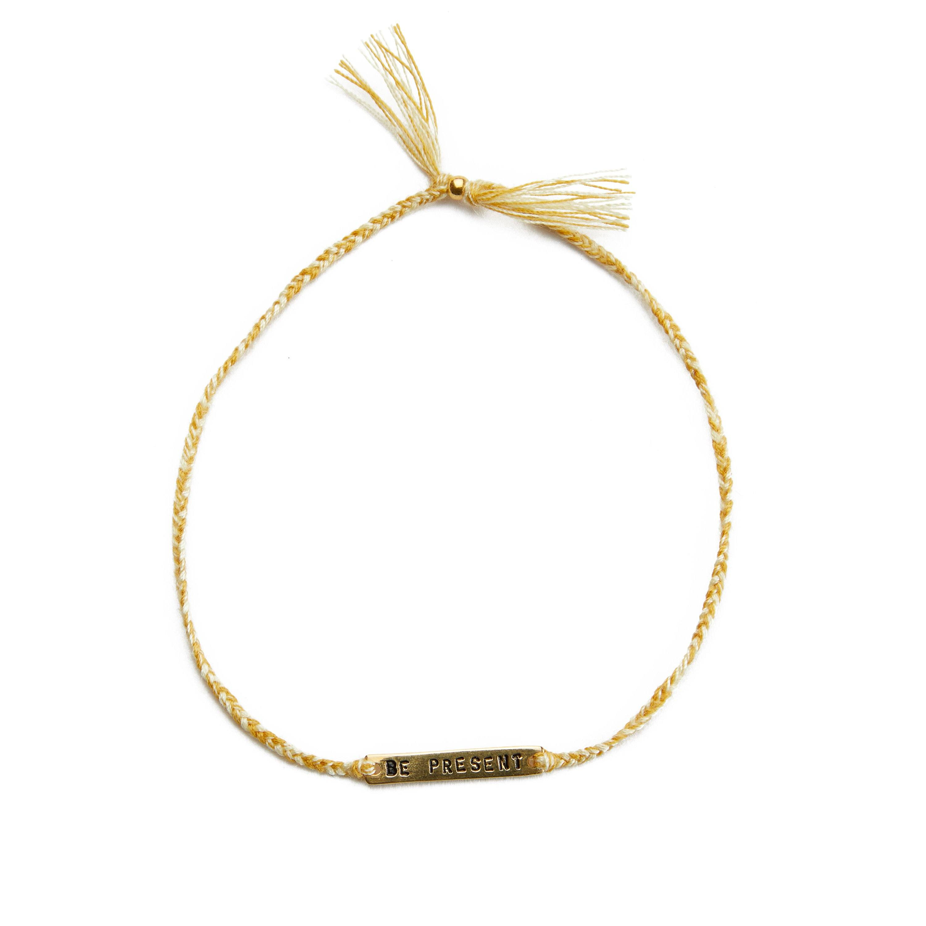 Be present yellow mix gold handmade bracelet from Santai.no