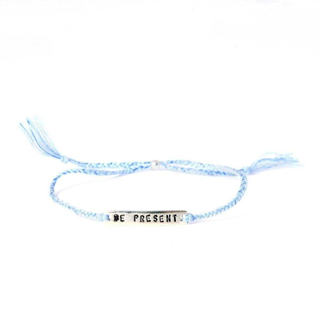 Be present light blue silver handmade bracelet from Santai.no