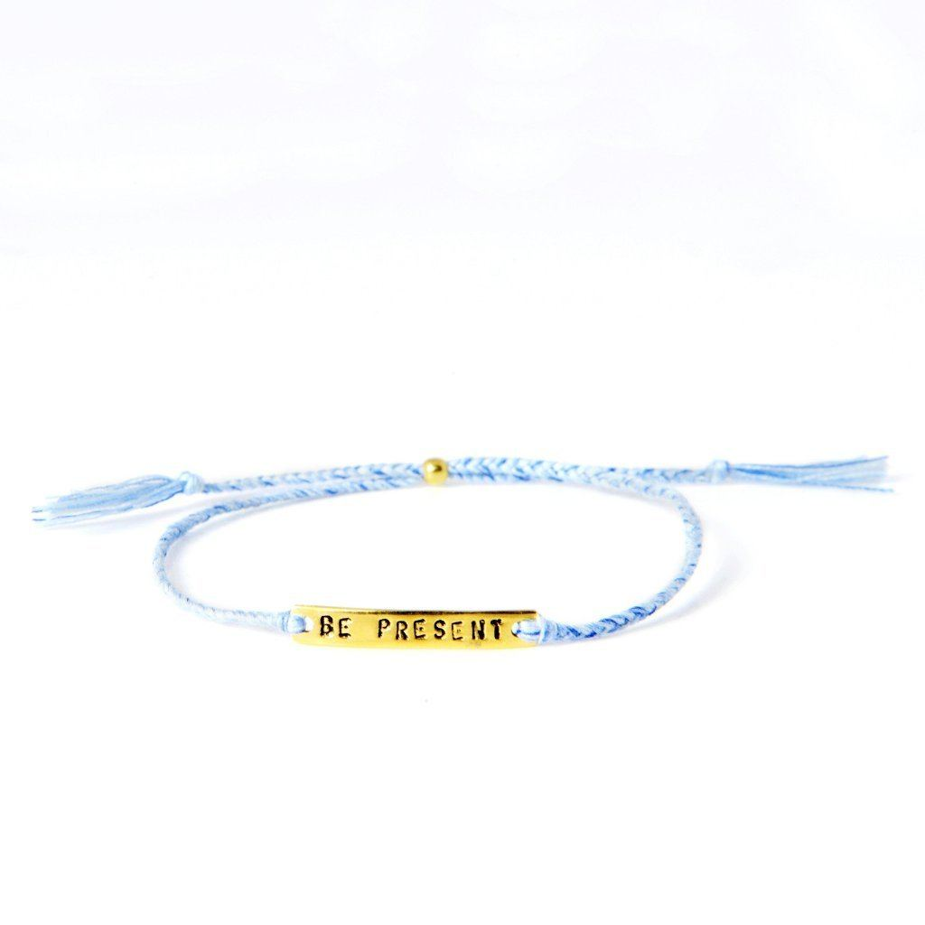 Be present light blue gold handmade bracelet from Santai.no
