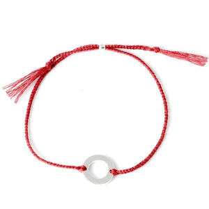 Circle bracelet red silver handmade from Santai.no