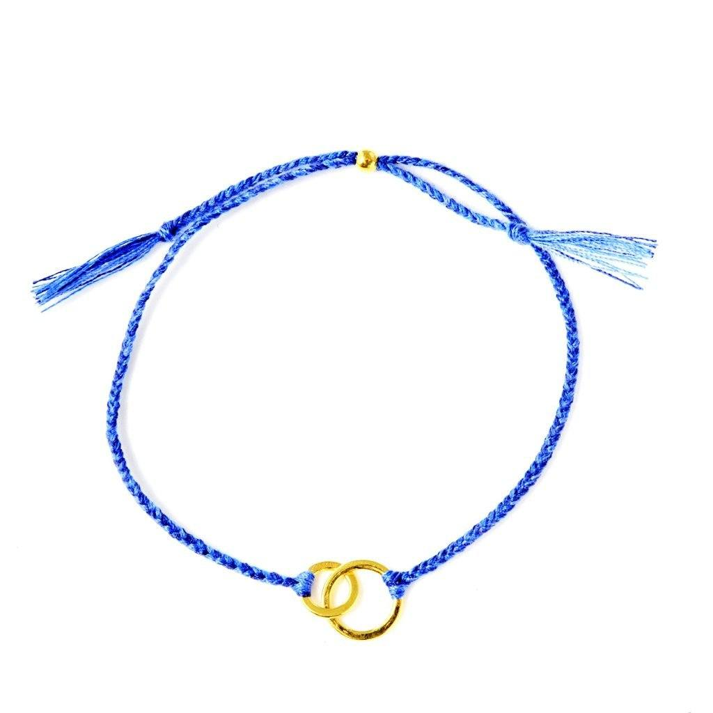 Connected blue gold handmade bracelet from Santai.no