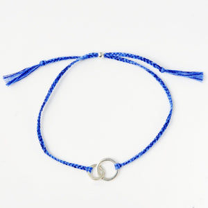 Connected blue silver handmade bracelet from Santai.no