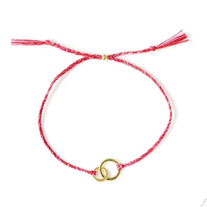 Connected red mix gold handmade bracelet from Santai.no