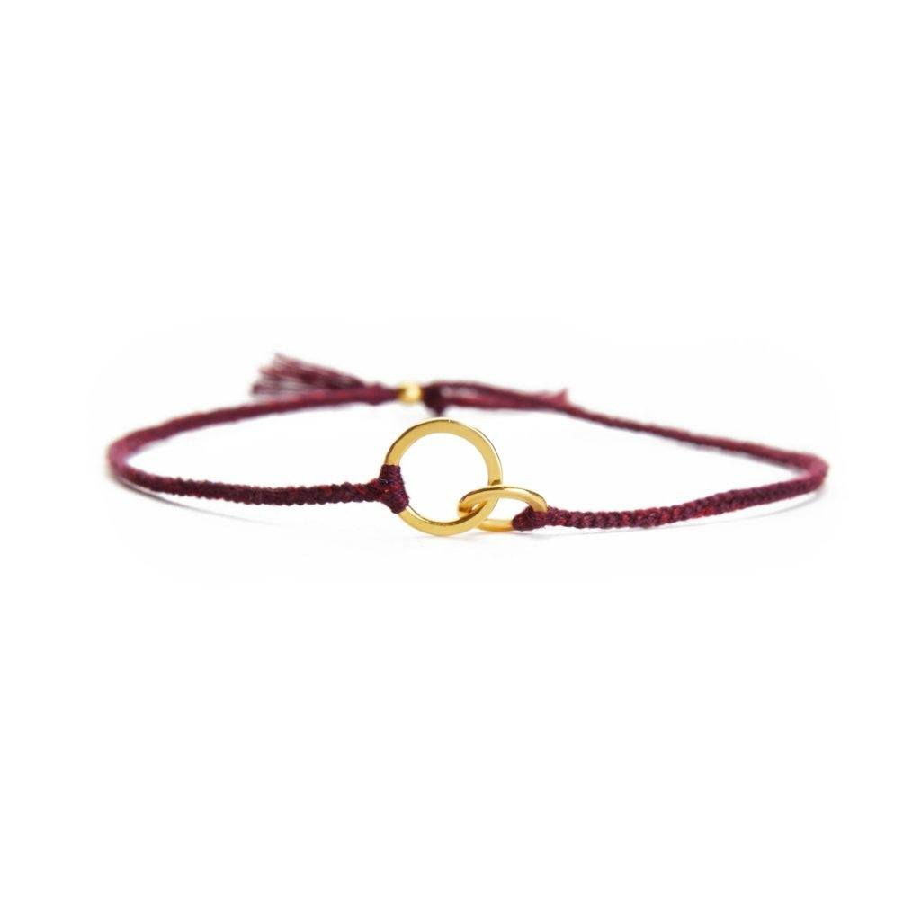 Connected burgundy handmade bracelet from Santai.no