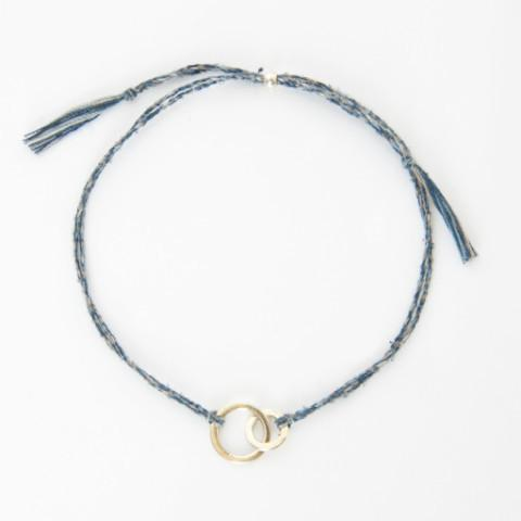 Connected mixed blue gold handmade bracelet from Santai.no