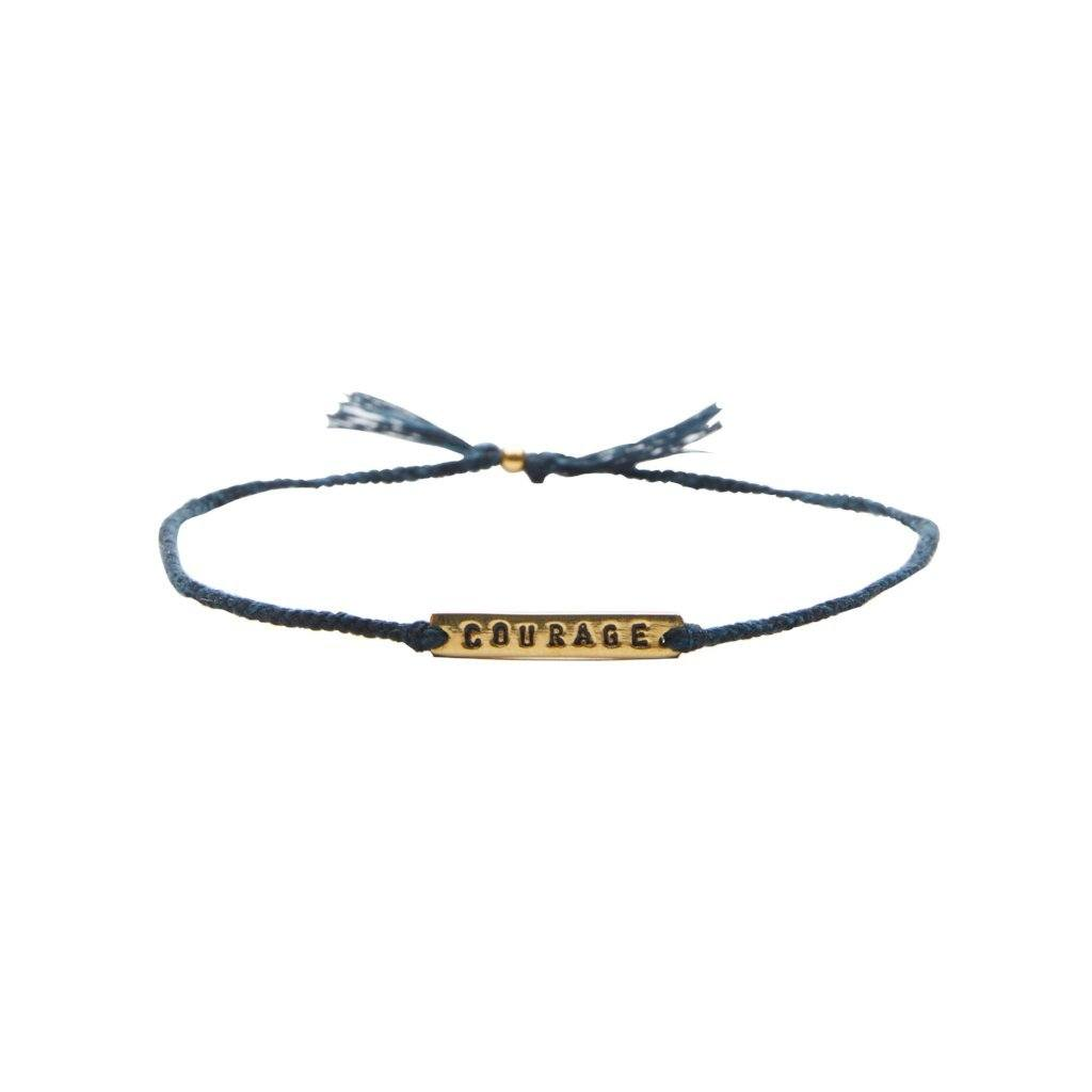 Courage dark blue gold handmade bracelet from Santai.no