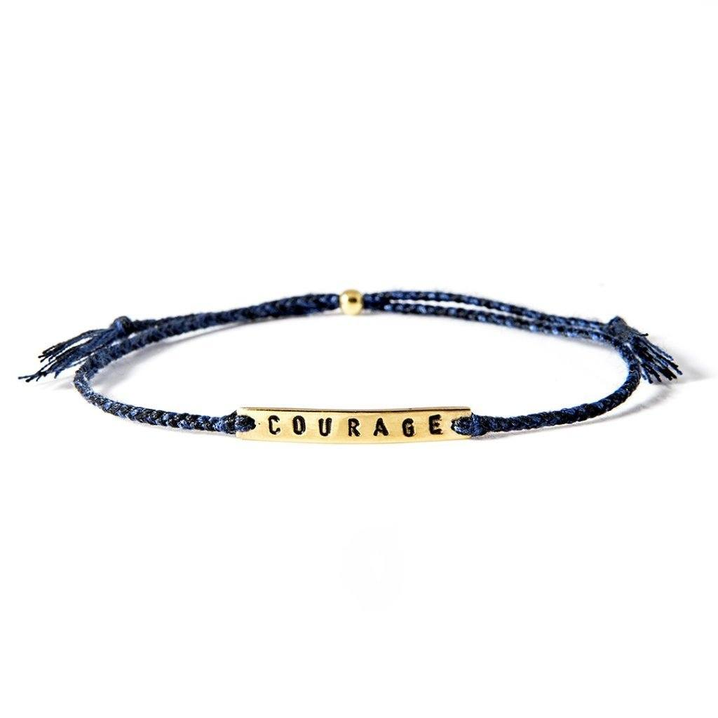 Courage petrol blue gold handmade bracelet from Santai.no