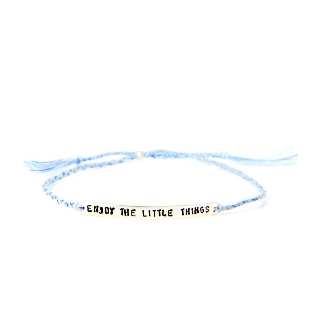 Enjoy the little things light blue silver handmade bracelet from santai.o