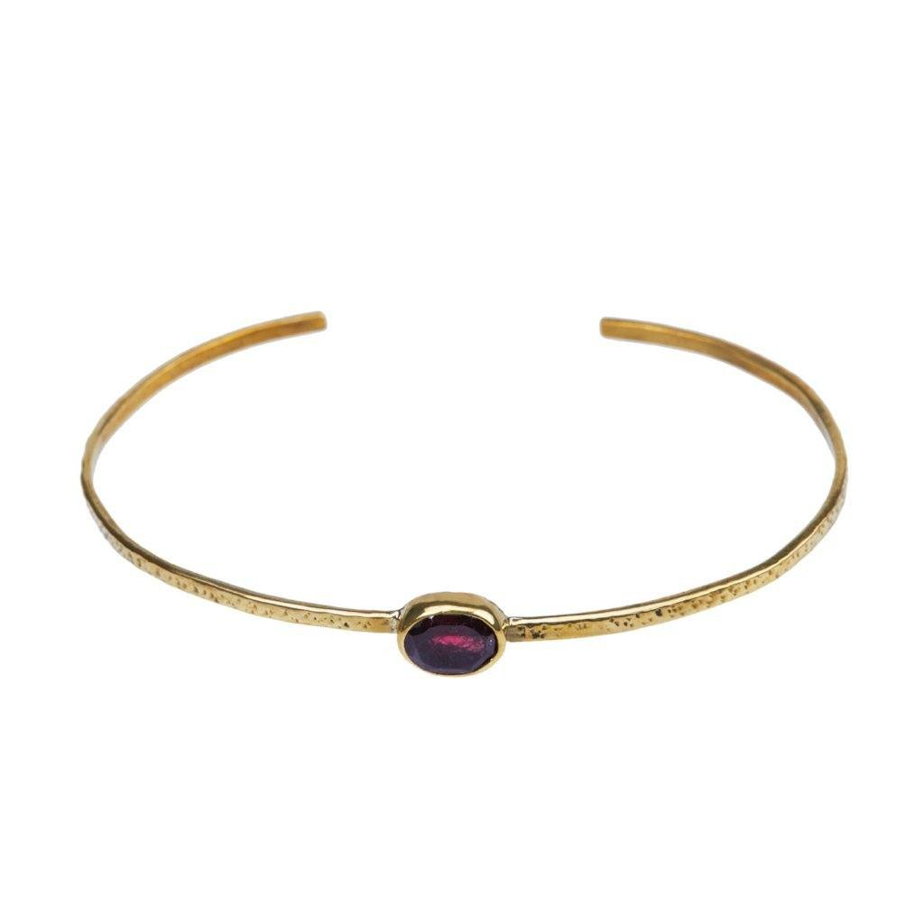 Garnet brass bracelet handmade from Santai.no
