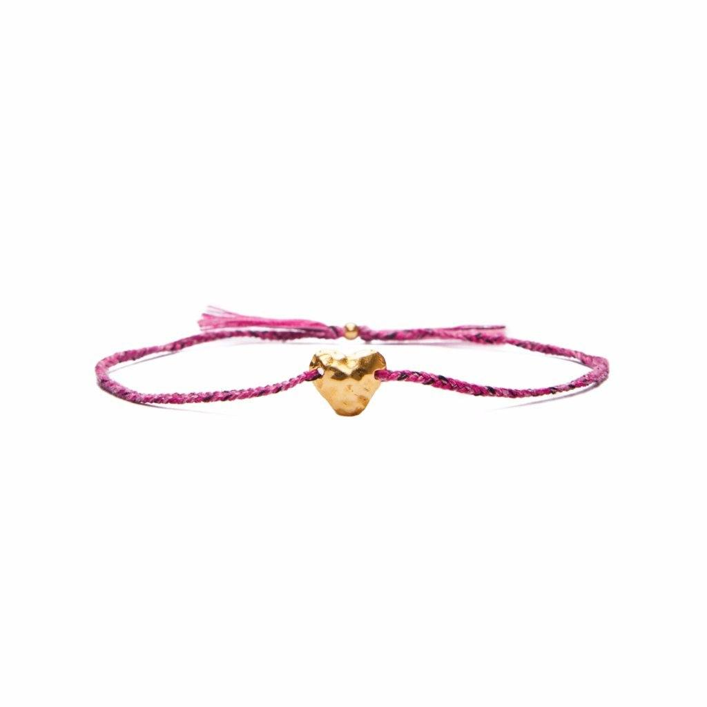 Heart bracelet dark pink silver and gold plated handmade bali