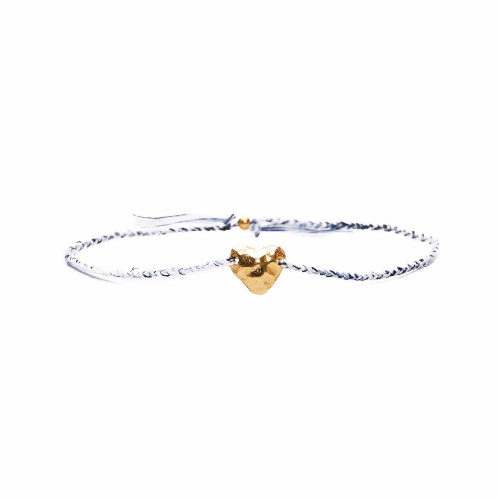 Heart bracelet white/ blue silver and gold plated handmade bali