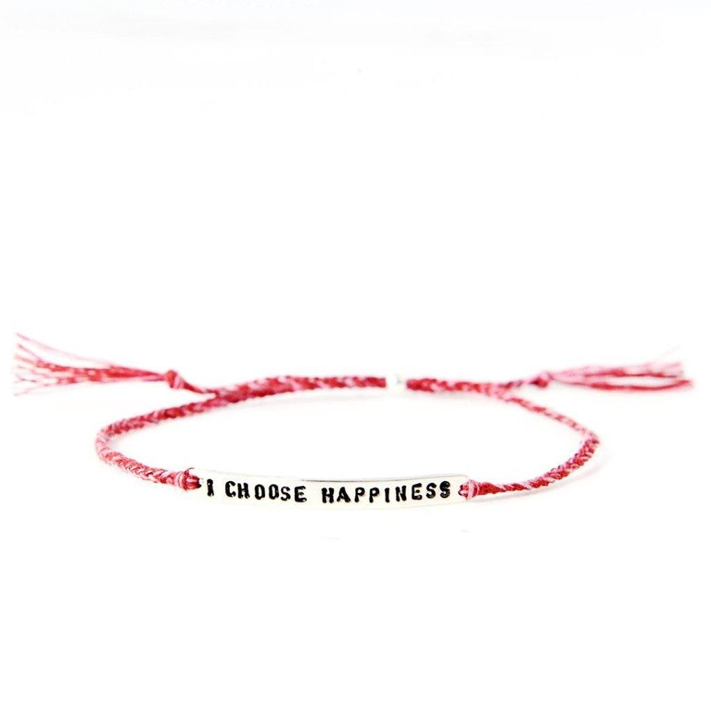 I choose happiness red mix silver bracelet from santai.no