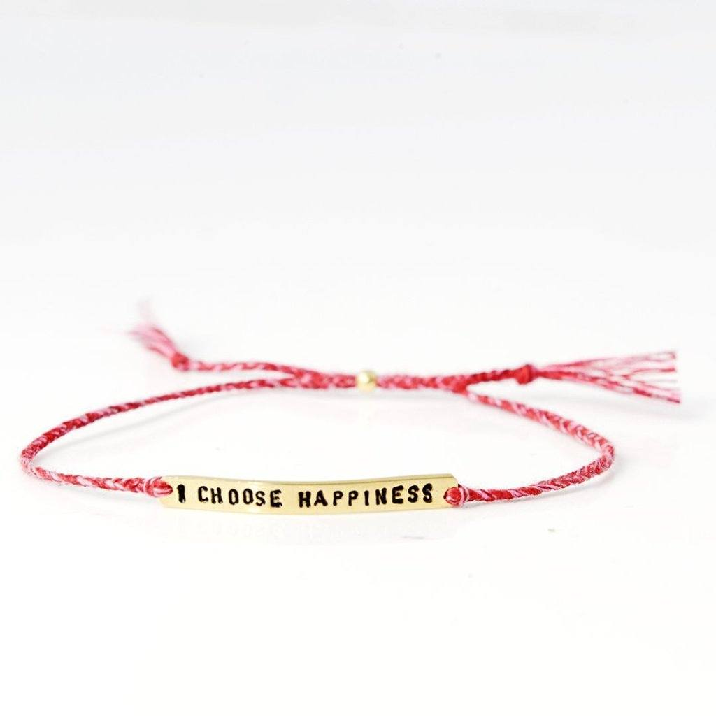 I choose happiness red mix gold bracelet from santai.no
