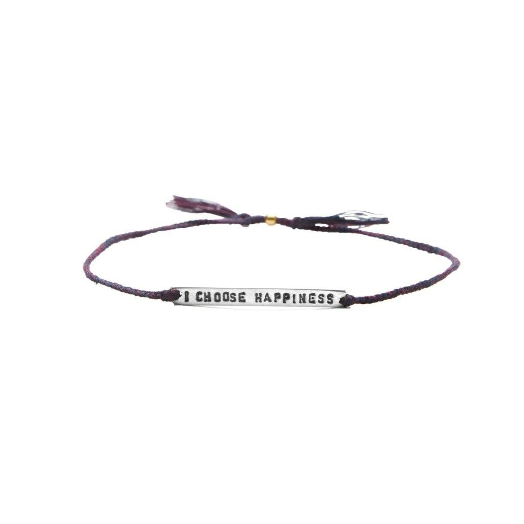 I choose happiness purple mix silver bracelet from santai.no